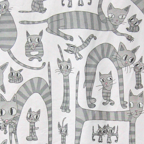 Fabric 145cm Cats Small Grey