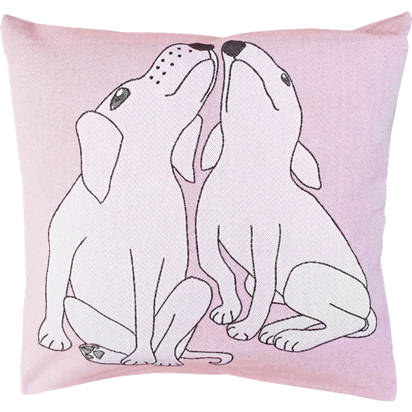 Cushion 45 cm Dog Kiss Pink