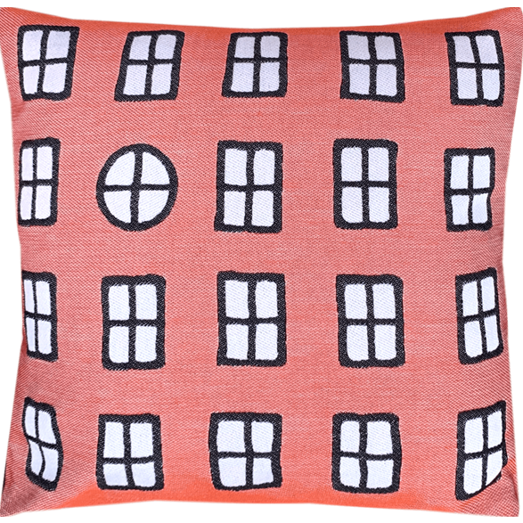 Cushion cover 45 cm Windows Rusty red