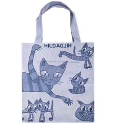 Grand Tote Bag Toile Cirée Chat