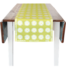 Chemin de table 35x150cm Marguerite Lime