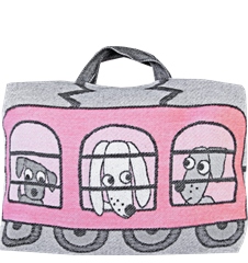 Taie d'oreiller/sac Train Chien Chat Rose