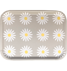 Tray Small Daisy  Light Grey