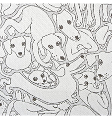 Fabric 145cm Dogs Small Grey