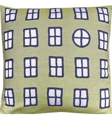 Cushion cover 45x45 Windows Green Blue