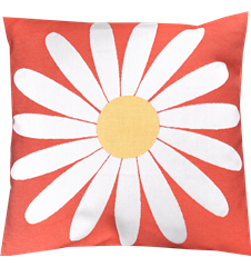 Cushion cover 45x45 Daisy Dark Orange
